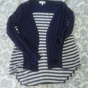 Women's striped hi lo cardigan
